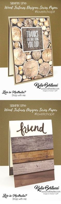 Masculine cards using the Wood Textures Designer Series Paper. Stamp to Share Design team - click to see more Masculine cards!