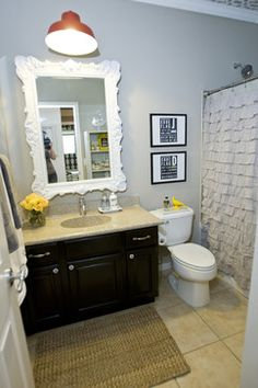 Bathroom Update....Lovely.  Wall Color:  Stonewall Jackson, Dutch Boy Paints.   http://cleverlyinspired.com/2012/12/update-the-powder-room-dutch-boy-paints/