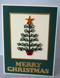 Christmas card, quilled, quilling tree, handmade