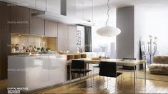 rendered with vray for revit Kitchen, Table, Furniture, Digital, Home Decor, Painting, Image, Architecture, Cooking