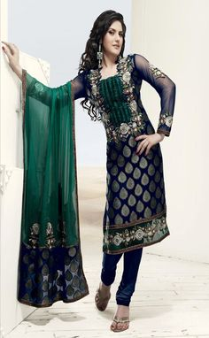 Navy Blue and Green Viscose Churidar Kameez With Dupatta @ $89.27 | Shop @ http://www.utsavfashion.com/store/sarees-large.aspx?icode=slkgy1218