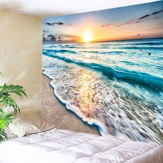 Sunrise Beach Waves Print Tapestry Wall Hanging Art TONS of them on this site. Cheap Wall Tapestries, Hanging Wall Art, Tapestry Wall Hanging, Wall Hangings, Yellow Tapestry, Tapestry Floral, Tapestry Quotes, Trippy Tapestry, Bricolage
