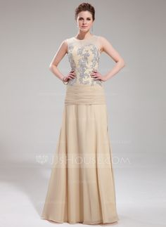 A-Line/Princess Scoop Neck Floor-Length Chiffon Tulle Evening Dress With Appliques Lace (017019753) - JJsHouse