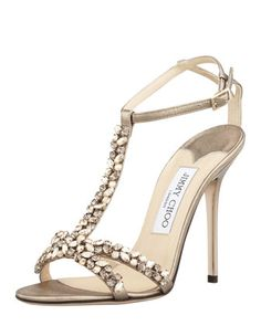 Tayn Crystal T-Strap Sandal by Jimmy Choo at Bergdorf Goodman.