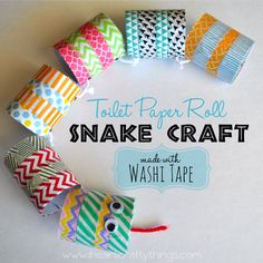 Snake Craft for Kids made out of Cardboard Rolls and washi tape | Fun no mess craft from I Heart Crafty Things