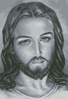 ICON JESUS Counted Cross Stitch Pattern Drum Tattoo, Jesus Mary And Joseph, Religion, Jesus Face, Counted Cross Stitch Patterns, Cross Stitches, Crochet Stitches, Religious Art, Close Image