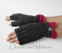 Crochet Patterns Mittens Black Wrist Warmers Fall Winter Fingerless by GlovesAndMittens Fingerless Gloves Knitted, Knit Mittens, Knitting Socks, Hand Knitting, Knitting Patterns, Crochet Patterns, Gilet Crochet, Crochet Gloves, Yarns