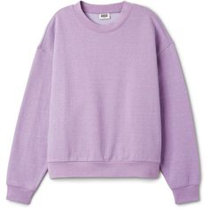 Huge Neps Sweater ❤ liked on Polyvore featuring tops, sweaters, purple crew neck sweater, drop shoulder tops, crew neck top, purple sweater and crew top