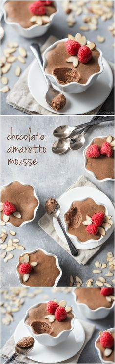 My favorite-ever mousse recipe! This chocolate amaretto mousse is the real deal, made with eggs and butter and so airy it just melts in your mouth. Loved that added hint of almond from the amaretto too.  food desserts chocolate