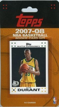 2007/08 Topps NBA Factory Sealed 14 Card ROOKIE SET - Kevin Durant ROOKIE !! by Topps. $8.99. Wowzzer!! We are Proud to offer this 2007/08 Topps NBA Factory Sealed Rookie Set!! This Factory Sealed Set includes 14 ROOKIE Cards including Card #2- KEVIN DURANT Rookie!! This Set includes Top 14 Draft Picks from the Awesome 2007/09 NBA Draft Including Greg Oden, Kevin Durant,Al Horford, Julian Wright and More!! This Set is in Original Factory Sealed Condition! Thanks