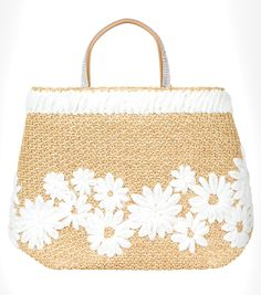 Ermanno Scervino Spring 2016 raffia basket bag with embellished handle.