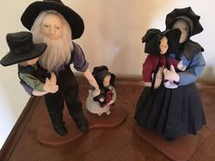 "Handmade 14"" Tall Amish Collectible Family - Rare!"