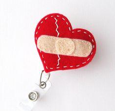 Mended Heart RN Name Badge Holder  Cardiac Nurse ID Badge Reels by BadgeBlooms, $7.00