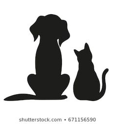 Silhouette of cat and dog on white background diy projects Dog Images, Stoc. - Silhouette of cat and dog on white background diy projects Dog Images, Stock Photos & Vectors - Silhouette Painting, Silhouette Clip Art, Silhouette Images, Animal Silhouette, Silhouette Projects, Cat Drawing, Rock Art, Cat Art, Painted Rocks