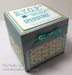 The Crafty Spark: Exploding Box Card for 22nd Birthday - Stampin Up B.Y.O.P stamp set, Coastal Cabana and Hello Honey card