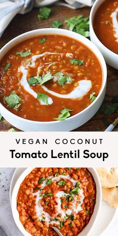 Recipes Videos Nourishing vegan coconut tomato lentil soup simmered with delicious, warming spices like cumin, coriander and turmeric. This creamy tomato lentil soup recipe has plenty of plant based protein and makes a wonderful meal prep lunch or dinner! Lentil Soup Recipes, Vegetarian Recipes, Cooking Recipes, Healthy Recipes, Lentil Meals, Vegan Vegetarian, Cooking Tips, Ninja Blender Recipes, Coconut Soup Recipes