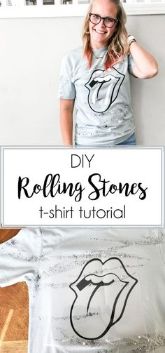 DIY Rolling Stones Shirt with Cricut Iron On - Our Thrifty Ideas Easy Dinner Recipes, Breakfast Recipes, Easy Meals, Rolling Stones Shirt, T Shirt Tutorial, Recipe For Mom, Kitchen Recipes, Diy Gifts, Crafts For Kids