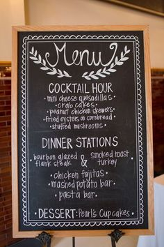 I love this painted menu board.I think food stations with wine pairings for each station would be neat! Wedding Food Stations, Wedding Reception Food, Wedding Signage, Wedding Buffet Menu, Reception Entrance, Wedding Dinner, Wedding Receptions, Pallet Wedding, Rustic Wedding