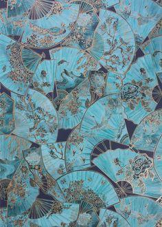 Teal & Gold Fanfare Wallpaper - Wallpaper - Matthew Williamson