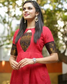 Raspberry anarkali dress is part of Kurta designs women - This is the madurai sungudi zari cotton maxi dress with yoke detailing Chudidhar Neck Designs, Neck Designs For Suits, Sleeves Designs For Dresses, Dress Neck Designs, Kurti Back Neck Designs, Sleeve Designs, Salwar Designs, Kurta Designs Women, Kurti Designs Party Wear