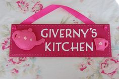 Personalised Kitchen plaque - perfect Mothers Day gift - plus UK postage. Craft Business, Business Ideas, Gifts For Mum, Mother Day Gifts, Perfect Mother's Day Gift, Name Plaques, Teapots And Cups, Kitchen Signs, Name Signs
