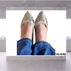 """Steven by Steve Madden """"Stardom"""" Flats Cream leather upper and sole, slightly pointed toe, silver reflective embellishments, lightly padded inside, no box. Worn one time. Steven by Steve Madden Shoes Flats & Loafers"""