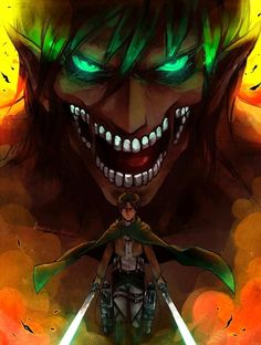 Eren Yeager/ Titan form - Attack on Titan - Shingeki no Kyojin Attack On Titan Episodes, Attack On Titan Season 2, Attack On Titan Fanart, Attack On Titan Eren, Attack On Titan Tattoo, Attack On Titan Tumblr, Film Manga, Art Manga, Anime Manga