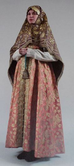 18th-20th century Russian traditional costume  with sarafan and shawl- head cover. elegant attire