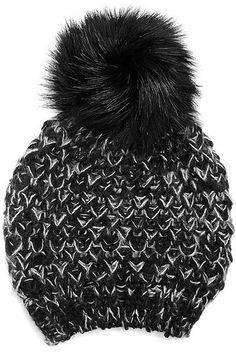 69cac6b5a60 Faux Fur Pom Pom Knit Beanie Hat - Black