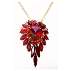 Juliana Style Pendant Chain Necklace Red Rivoli Marquise Rhinestones... ($35) ❤ liked on Polyvore featuring jewelry, necklaces, red pendant, vintage jewelry, rhinestone pendant necklace, vintage chain necklace and pendant necklaces