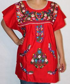 Assorted Colors Peasant Puebla Embroidered Mexican Blouse Top s M L XL XXL | eBay $22.99