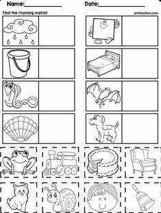 Rhyming Worksheet, Pre K Worksheets, Free Printable Worksheets, Writing Worksheets, Preschool Worksheets, Free Printables, Rhyming Kindergarten, Shapes Worksheet Kindergarten, Rhyming Activities