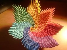 How to make rainbow spiral vase (bowl) – Origami Origami Star Box, Origami Stars, Origami Easy, Vase Origami, Paper Crafts Origami, Oragami, Diy Paper, 3d Origami Tutorial, Origami Instructions