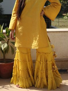 Yellow Cotton Sharara Set with Dupatta - 3 Piece Set – The Loom Sharara Designs, Kurti Designs Party Wear, Saree Blouse Designs, Pakistani Dresses, Indian Dresses, Indian Outfits, Simple Dresses, Casual Dresses, Fashion Dresses