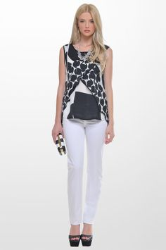 5768da50d99 Sarah Lawrence - sleeveless printed top with combination of two fabrics,  five pocket straight leg pant.