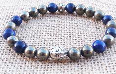 Men's Buddha Bracelet Men Beaded MalaPyrite by BohemianChicbead