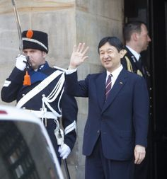 Crown Prince Naruhito of Japan leaves the Royal Palace after brunch with King Willem Alexander and Queen Maxima of The Netherlands
