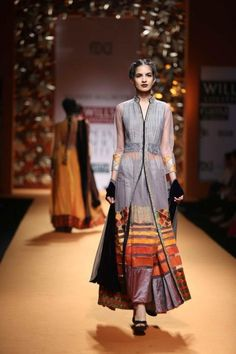 Manish Malhotra wifw a/w 2013 grey orange silver anarkali lengha sherwani