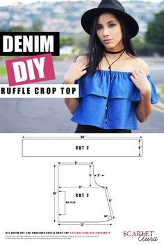 In this DIY I show you how to make a super easy light-weight denim off-the-shoulder crop top. This style of top is so on trend right now as it features romanticism, off-the-shoulder, maybe even a little Victorian, and the denim gives it a seventies vibe. It's the perfect item to take with you when travelling because it can be worn in several different ways – five of which I demonstrate in the video! Video on Youtube: https://www.youtube.com/watch?v=vdYa00hznTA