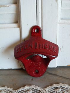 Upcycled Red Rustic Iron Bottle Opener Cottage Chic Kitchen Houseware Decor Retro Decor