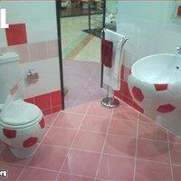 red soccer ball toilet