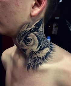 Tattoo сова на шее - tattoo's photo In the style Black and grey, Ow Owl Neck Tattoo, Tattoo On, Tattoo Photos, Body Tattoos, Life Tattoos, Tattoos For Guys, Tatoos, Unique Tattoo Designs, Unique Tattoos