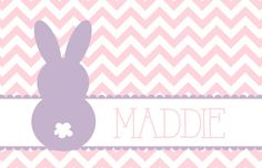 Personalized Placemat  pink Easter bunny 12x18 by ArlaCreations, $12.50