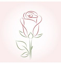 Rose vector image on VectorStock Rose Drawing Pencil, Red Rose Drawing, Pencil Drawings Of Flowers, Fabric Painting, Painting & Drawing, Single Rose Tattoos, Box Frame Art, Rose Sketch, Flower Drawing Tutorials
