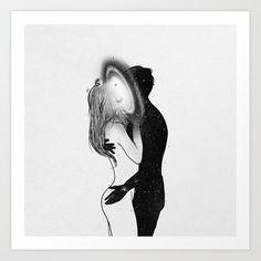 Framed Art Print by Muhammed Salah - Vector Black - Art And Illustration, Kunst Inspo, Art Inspo, Love Art, All Art, Dark Art Drawings, Heart Drawings, Galaxy Painting, Psychedelic Art