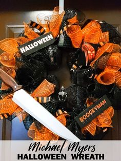 Michael Myers Halloween Wreath Michael Myers Halloween Wreath - Mooshu Jenne<br> Michael Myers Halloween Wreath made with mesh and ribbon. Mod podge wood pieces from the original 1978 Halloween film with Michael Myers. Halloween Film, Halloween Season, Holidays Halloween, Halloween Party, Cheap Halloween, Halloween 2020, Halloween Stuff, Burlap Halloween, Homemade Halloween