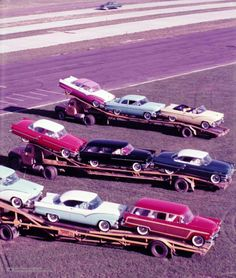 Look at all those beauties! Vintage Racing, Vintage Cars, Toy Hauler Trailers, Rolling Car, Car Carrier, Ford Fairlane, Retro Cars, Big Trucks, Old Cars