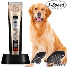 Dog Clippers - UPmagic Pet-Pro Dog grooming Clippers,Low Noise Rechargeable Cordless Pet Grooming Clippers Set Kit,Heavy Duty Hair Trimming for Dogs Cats Horse and Other Animals