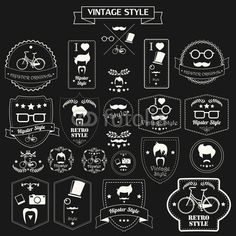 Collection of #vintage #hipster #labels, #badges and #stamps, #monochrome