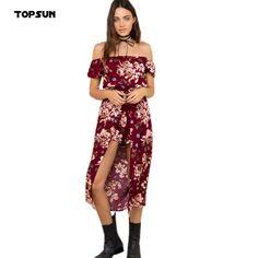 40144e168 R$ 109.03  2016 fora do Sholder High Side fenda da cópia Floral meados de  bezerro Vestidos mulheres Beah vestido vermelho Irregular roupas Bohemian  Vestidos ...